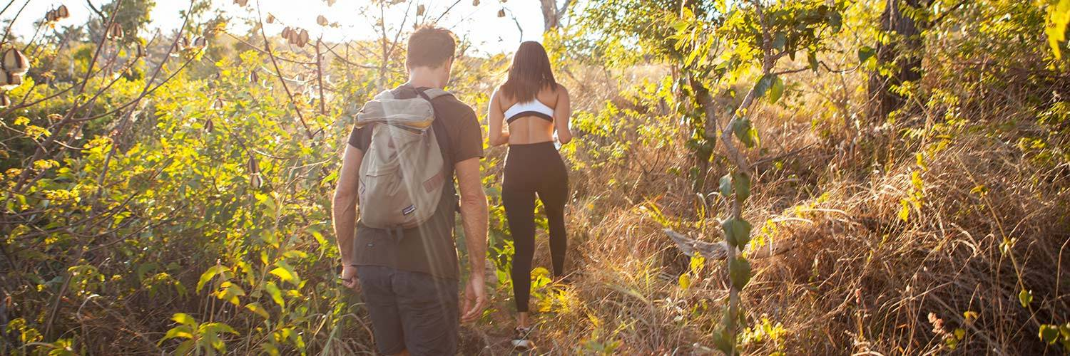 Couple hiking in Crooks Look on Lizard Island